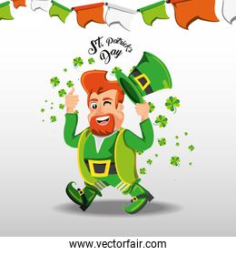 st patrick day with leprechaun and clovers