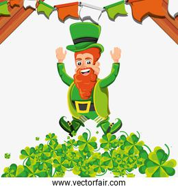 leprechaun jumping with clovers and garlands