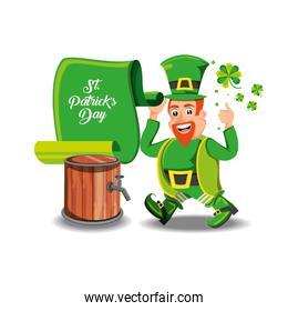 st patrick day with green leprechaun and barrel
