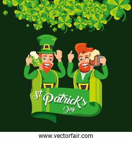 st patrick day with leprechauns and beers