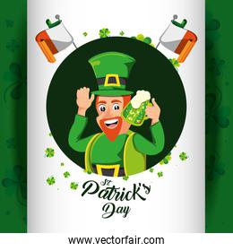 st patrick day with leprechaun and beer