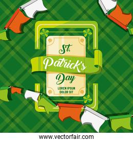 st patrick day card with frame and garlands
