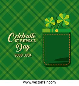 st patrick day with clovers icons