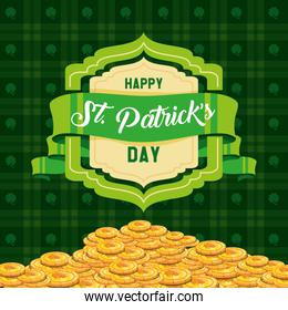 st patrick day with coins and ribbon