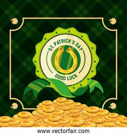 st patrick day with coins and horseshoe