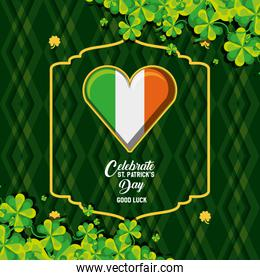 st patrick day with flag irish in shape heart and clovers