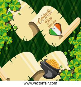 st patrick day with flag irish and cauldron in parchment