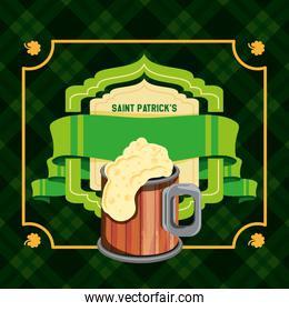 st patrick day with beer and ribbon