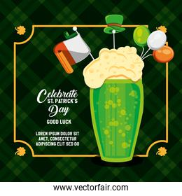 st patrick day with beer glass with icons