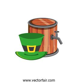 barrel wooden beer with leprechaun hat