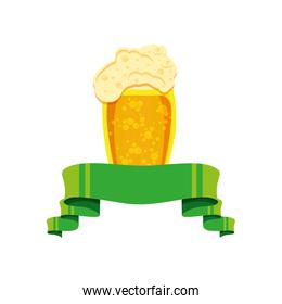 beer in glass with ribbon icon
