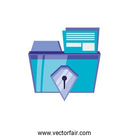 file folder with security shield