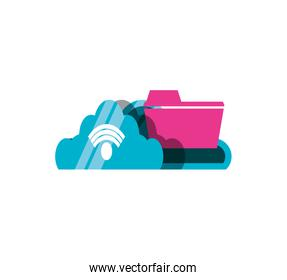 cloud computing with wifi signal and folder document