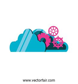 cloud computing with gears icon