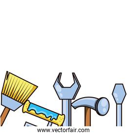 hammer with set tools isolated icon