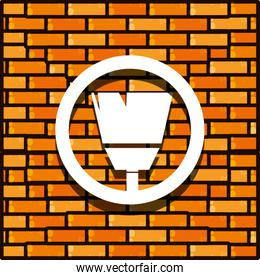brick wall with paint brush isolated icon