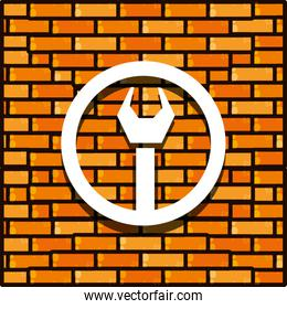 brick wall with wrench tool isolated icon