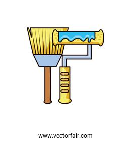 paint brush and roller tool isolated icon