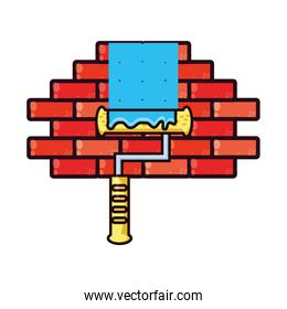 paint roller with wall isolated icon