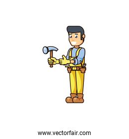 construction worker with hammer tool