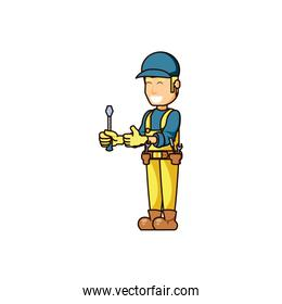 construction worker with screwdriver tool