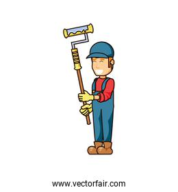 construction worker with paint roller