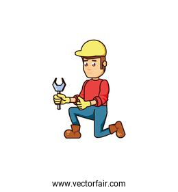 construction worker with wrench tool