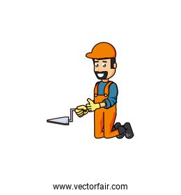 construction worker with spatula tool