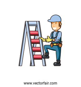 construction worker with stair portable