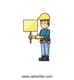 construction worker with banner signal character
