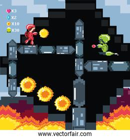 classic video game scene with warrior and flame