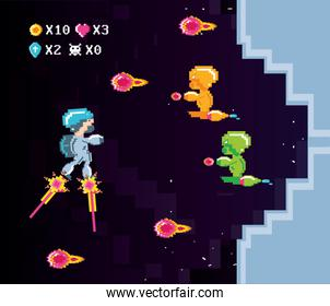 classic video game scene with warriors fight