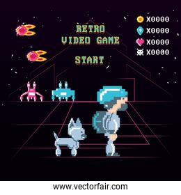 classic video game scene with warrior and animal