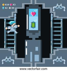 classic video game scene with warrior in stairs