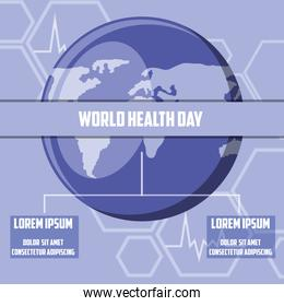 world health day card with planet earth