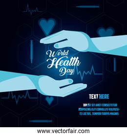 world health day card with hands