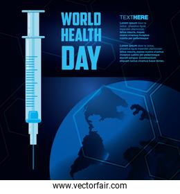 world health day card with syringe and planet