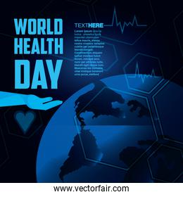 world health day card with hand and planet
