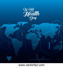 world health day card with map