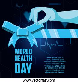 world health day card with hand and bow ribbon