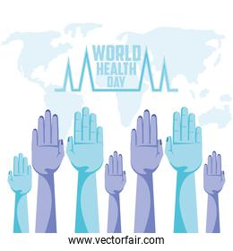 world health day lettering card with hands up