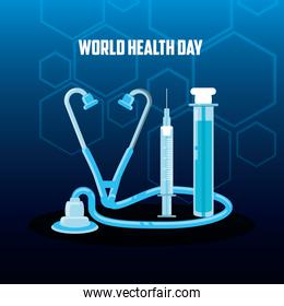 world health day card with stethoscope and icons