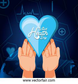 world health day card and hands with heart