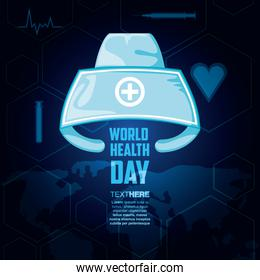 world health day card with nurse hat