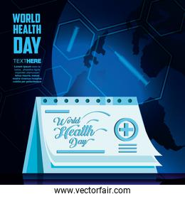 world health day card with calendar reminder