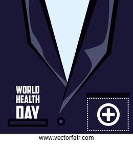 world health day card with shirt doctor