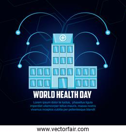 world health day card with hospital structure