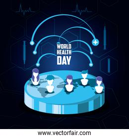 world health day card with planet and people