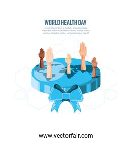 world health day card with planet and hands