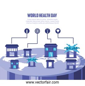 world health day card with planet and icons